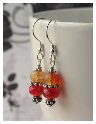 Carnelian & Bali silver earrings