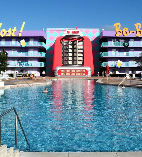 Shaped like a bowling pin and headed by a juke box-- the pool in the 50's section of Disney's Pop Century Resort