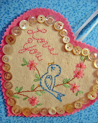 Pink Too! (misseskwittys) Tags: pink bird vintage embroidery buttons felt valentine handstitched misseskwittys