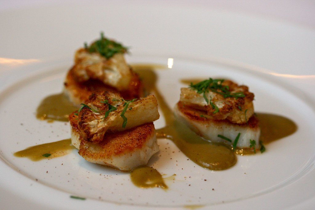 Sea Scallops, Caramelized Cauliflower, Caper-Raisin Emulsion