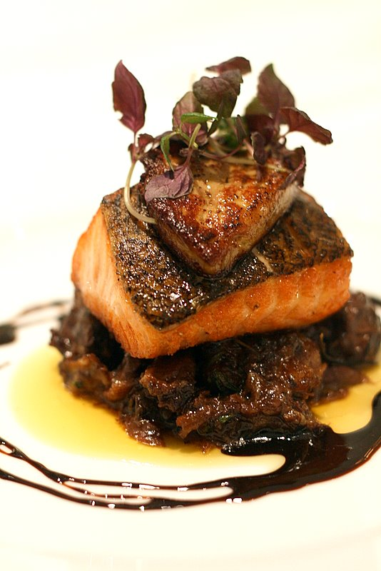 Salmon with oxtail stew and foie gras