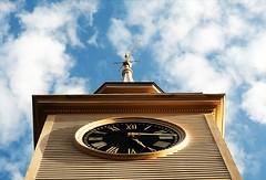 Quarter past (lkgilbert) Tags: sky clock church clouds common unitarian cohasset lkg