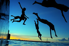 cooling down...!!! (muha...) Tags: travel blue black water silhouette kids children fun happy cool jump flickr dive down maldives villingili nikonstunninggallery muhaphotos