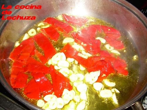 Bacalao salsa pimientos cacerola
