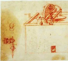 F805r-Codex Atlanticus- Torno a pedales (parte)-Biblioteca Ambrosiana