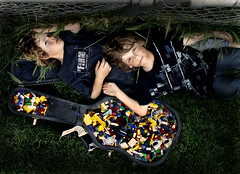 Life's Just a Guitar Case Full of Legos (olivia bee) Tags: max boys field grass kids fence children legos neighbors bennett guitarcase oliviabee