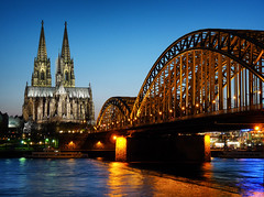 Cologne Cathedral (l_regoli) Tags: cologne cathedral rheine river gothic architecture hohenzollern bridge lights blue hour sky germany europe travel photography panasonic water