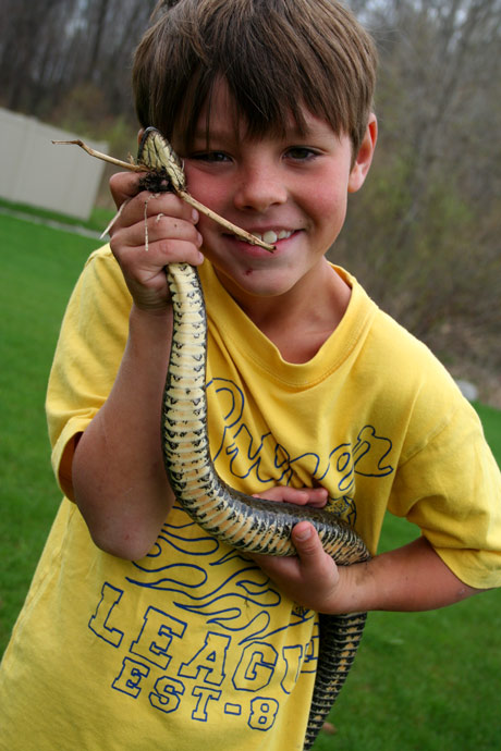 this boys loves snakes