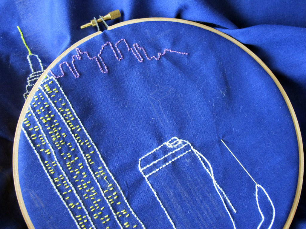Embroidering the view from the top of the rock, in NYC