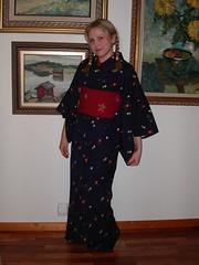 wool kimono + hanhaba obi