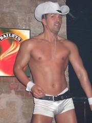 Pure Party @ Citadella (myristica fragrans) Tags: gay man guy pecs cowboy hungary dancers stage budapest hunk scene homo sparkler performers magyar halfnaked garçon bulge mec gogoboy meleg