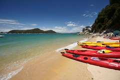 Sea Kayaks (Kenny Muir) Tags: park new sea beach island sand kayak south zealand national abel tasman kayaks marahau