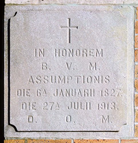 Saint Mary of the Barrens Roman Catholic Church, in Perryville, Missouri, USA - cornerstone