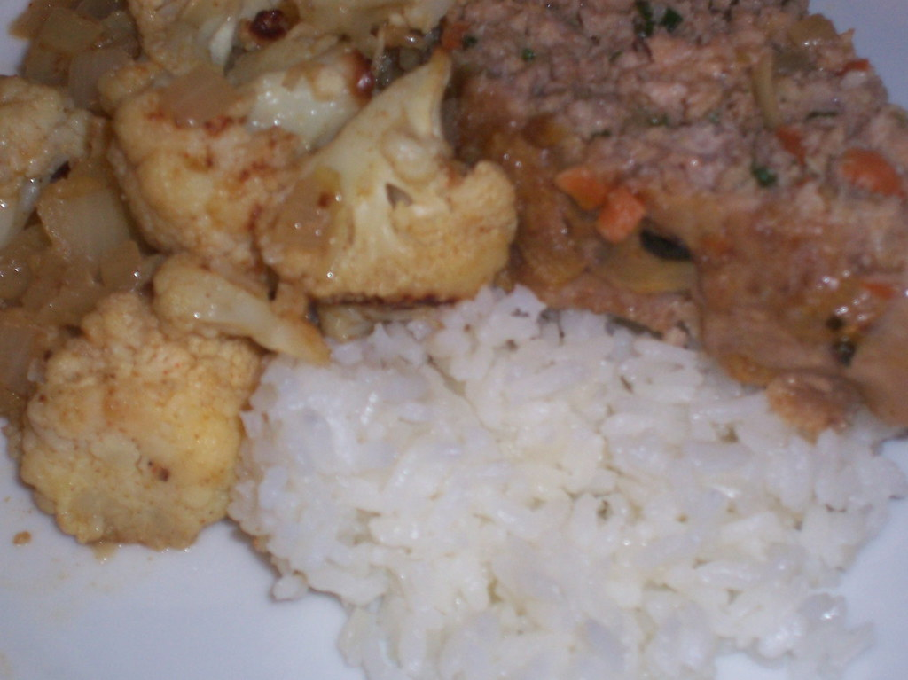 moroccan pork meatloaf and cauliflower
