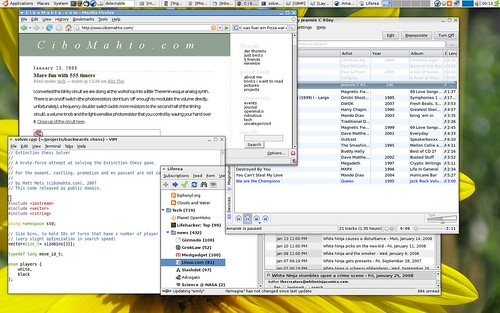 Its a screenshot purporting to be of a new window manager, with each window overlapping the next in a loop