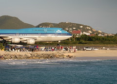KLM on the edge ~ (**Mary**) Tags: holiday beach airport sand aircraft jet transportation airline caribbean klm stmaarten jumbojet mahobeach caribbeanisland klmjumbojet