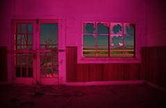 pepto bismol (tgagephoto) Tags: door pink light lightpainting abandoned broken window glass canon painting cafe texas flat flash rustic brokenglass salt gasstation abandon ghosttown 5d westtexas gel strobe lightstreak saltflat copyrighted deteriorate ihveissues tomgagephotography tgage