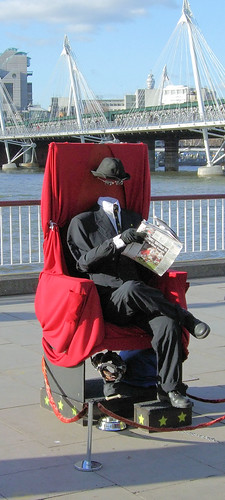 Invisible Man Living Statue, Thames South Bank, London by Jim Linwood