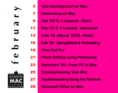 Power Mac Center February 2008 Training Calendar