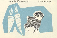 Tiny Sheep or Giant Carrots? (Cowtools) Tags: vintage recipe ephemera illo booklet groundmeat