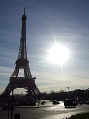 Eiffel Tower (cheesemonster) Tags: sun paris france lady de la frankreich iron ledefrance glare landmark toureiffel frankrijk dame francia rp fer    rgionparisienne parisregion theironlady ladamedefer  afeatofengineering