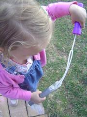 L. blowing bubbles