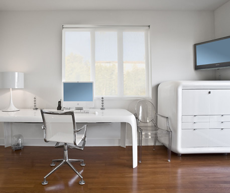 white home office interior design