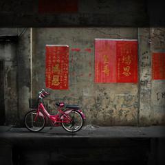 Muse (Yorick...) Tags: pink red texture bike wall thailand chinatown bangkok chinese textures posters bkk callygraphy