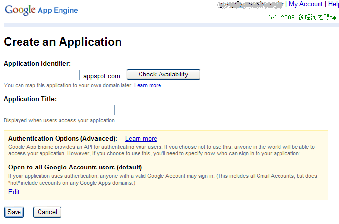 Create an Application in Google App Engine
