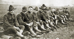 Soldiers (newmexico51) Tags: old railroad man men hat vintage found uniform photos antique wwi worldwari photographs fotos soldiers resting
