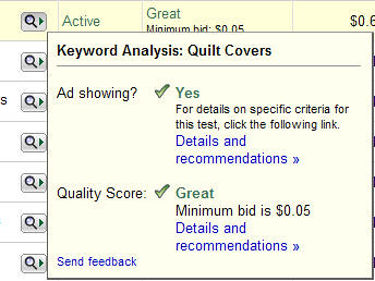 quality score new tool - recommendations