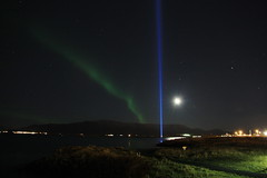 Lights in the dark (Elsa Prinsessa) Tags: moon nature night stars iceland streetlight reykjavik esja explore moonlight elsa northernlights starlight laserlight imaginepeace supershot 50faves diamondclassphotographer theunforgettablepictures elsaprinsessa imaginepeacetower thisvisionbroughttearstomyeyes elsabjrgmagnsdttir