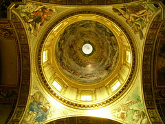 rome. inside san andrea della valle 5 (kexi) Tags: old november light italy rome church yellow golden nikon interior dome coolpix frescoes nikoncoolpix instantfave sanandreadellavalle circlescirclescircles