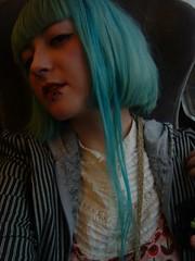 boob (chimidoro) Tags: uk portrait england selfportrait me hairdye girl female self myself fuji urbandecay grunge bib mint kitsch pale tulip roxy piercings roxanne bluehair pinstripe dyedhair greenhair dollybird paleskin a303 streetstyle hardcandy chimidoro turquoisehair kinderwhore  kirigoe roxannekirigoe chimidoro