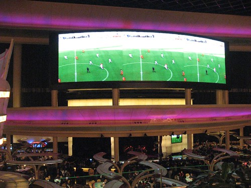 Premiership soccer in the main gaming room at The Sands