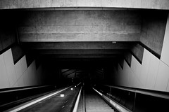 Sink to the bottom (Bryan Villarin) Tags: blackandwhite bw subway losangeles escalator steps tunnel photowalk myfavorite photowalking