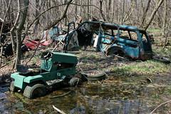 mired mower (el_rebelde) Tags: ohio abandoned car mower stationwagon kelleysisland