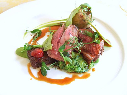 lamb, pea puree, smoked tomato, Foliage