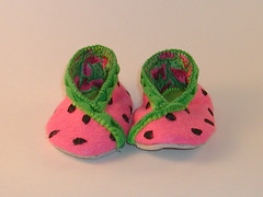 Watermelon Baby Bootie Alternate 3 (Crafty Intentions) Tags: embroidery sew felt watermelon handsewn fleece handstitched sewn babybootie handembroidered microsuede machinestitched