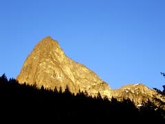 Hozomeen SW Peak in Evening (Dru!) Tags: trees summer usa mountain hot silhouette june climb washington peak climbing alpine views reallyhot wa approach alpenglow northcascades cascademountains alpinism northcascadesnationalpark hozameenrange waytoohot hozomeen hozameen