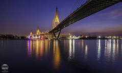 Bhumibol Bridge, Bangkok (kenneth chin) Tags: chaophrayariver idustrialringroad nikon d810 nikkor 1424f28g yahoo google bangkok thailand asia city twilight blue bhumibol bridge water