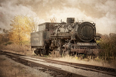 Sidetracked For Life (mobiusfaith) Tags: steam engine train forgotten abandoned bellevue ohio tracks sky clouds trees sidetracked texture processing photoshop creativeedit