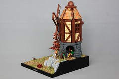 Holt Windmill (-soccerkid6) Tags: lego moc model creation skyrim windmill landscape castle medieval fantasy european mill rock tree technique path ground texture wall stone design method roof mitgardia mitgardian