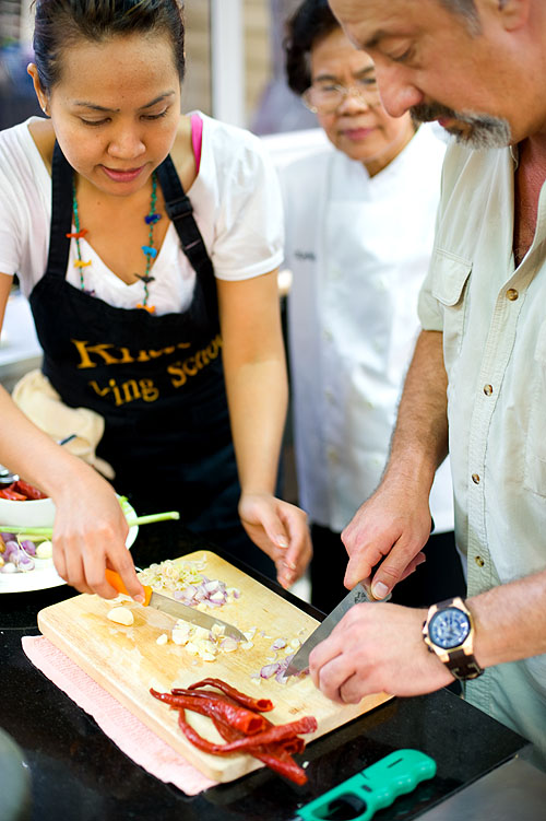 Learning to make Thai food at Khao Cooking School, Bangkok
