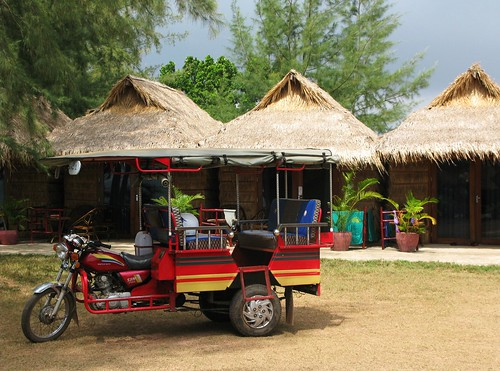 Tuk tuk waits at Star Bar Bungalows - Otres Beach, Cambodia