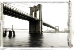 Reminiscence (Jrg Dickmann Photography) Tags: nyc newyorkcity bridge ny newyork topf25 sepia brooklyn america river geotagged unitedstates manhattan photoshopped brooklynbridge eastriver nostalgic canon5d seaport canon2470 geo:lat=40707584 geo:lon=73999963