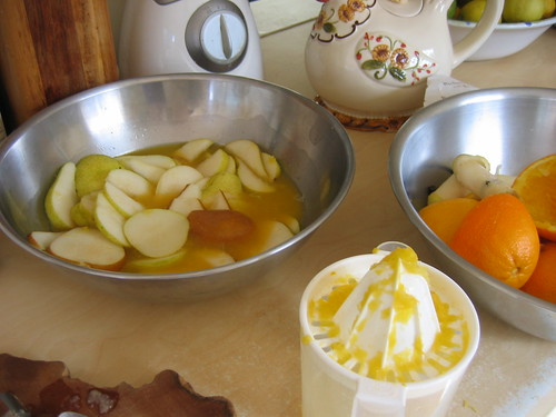 Pears in orange juice