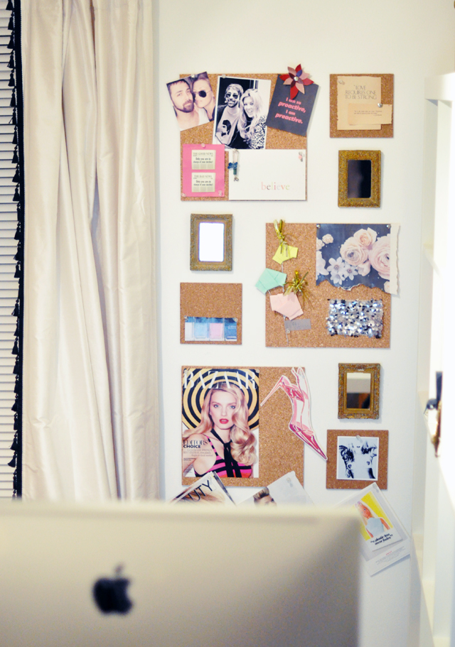 Cork Wall Tiles with gold framed  mirros + Inspiration board