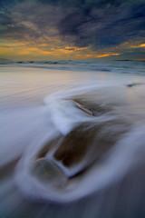 Three Rocks (Conrad...) Tags: ocean sanfrancisco california longexposure sunset seascape reflection beach water clouds landscape waves pacificocean bayarea graduated leefilter vision:sunset=0544 vision:sky=0834