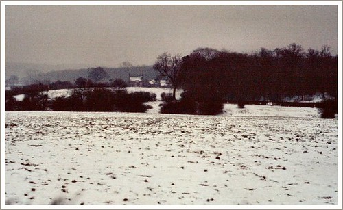 UNDERWOOD , NOTTINGHAMSHIRE : The snow covered fields above Haggs Farm on a  January afternoon in 1985.